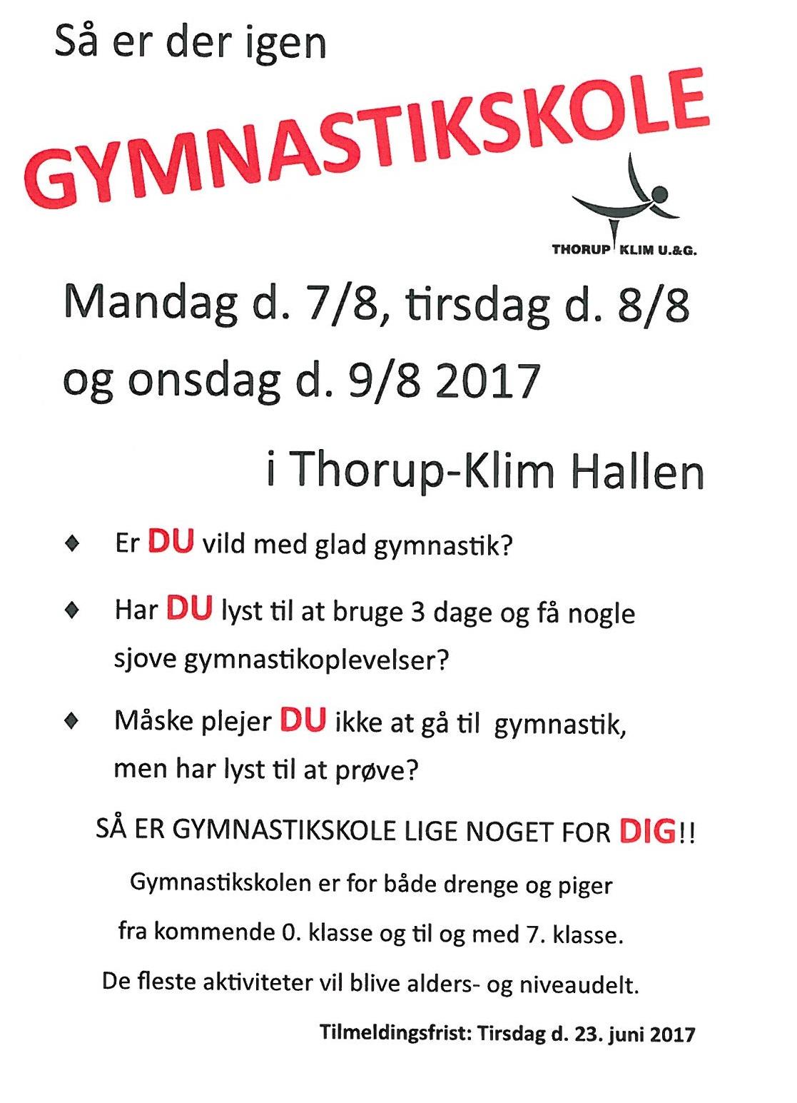 GYMNASTIK SKOLE @ Thorup Klim Hallen   Nørresundby   Danmark